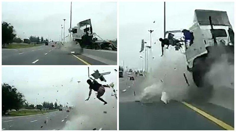 Видео: водителя грузовика вышвыривает из кабины в момент жуткой аварии