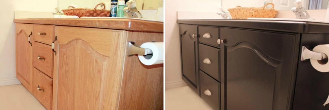 Покрасить можно всё! В том числе, туалетный столик в ванной. Новые ручки преобразят его до неузнаваемости. бюджетно, дом, идеи, креатив, ремонт, своими руками, советы, фото
