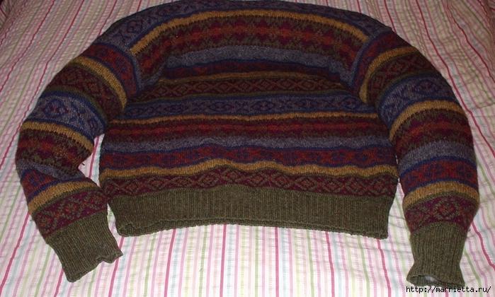 Cuna de gato de un viejo suéter.  Master class (4) (700x420, 271Kb)