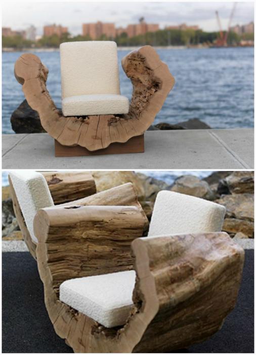 Мягкие кресла из пней.