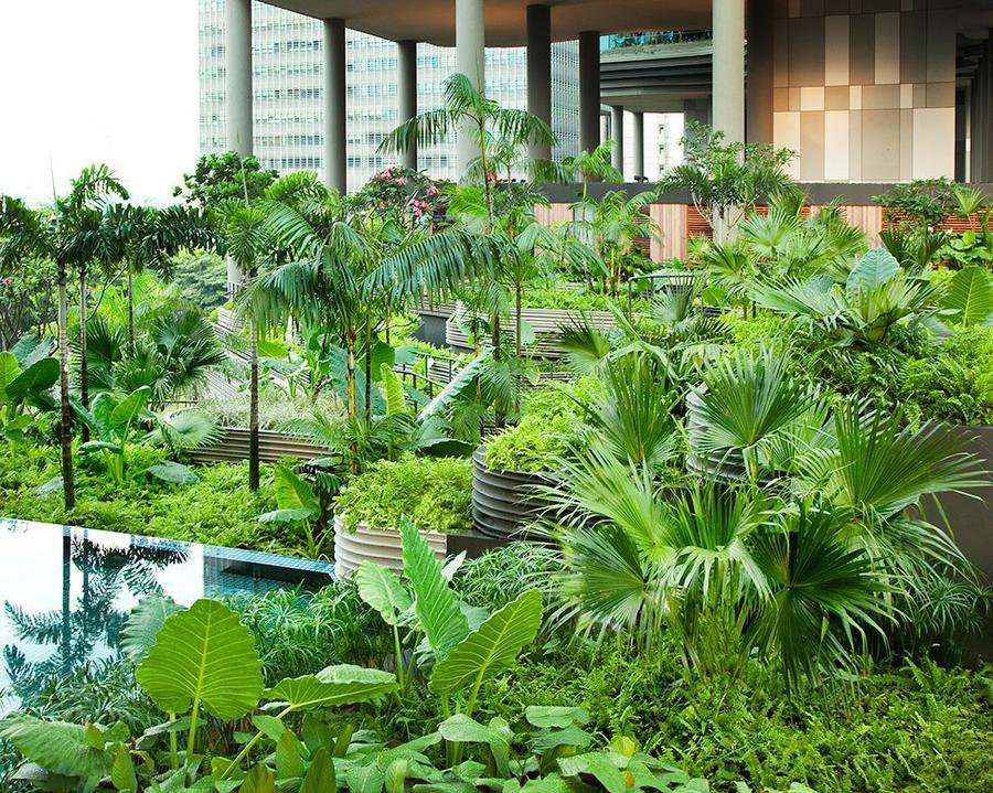 Parkroyal16 Уникальный сад на фасаде отеля в Сингапуре