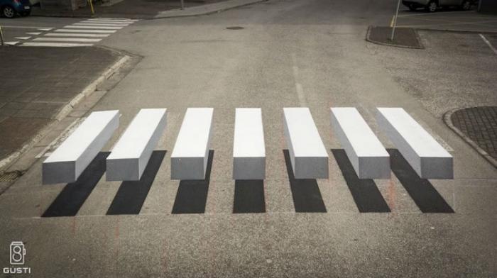 3D-зебра, которая останавливает всех водителей