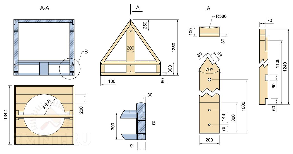 Открытый домик для колодца чертежи и размеры 161