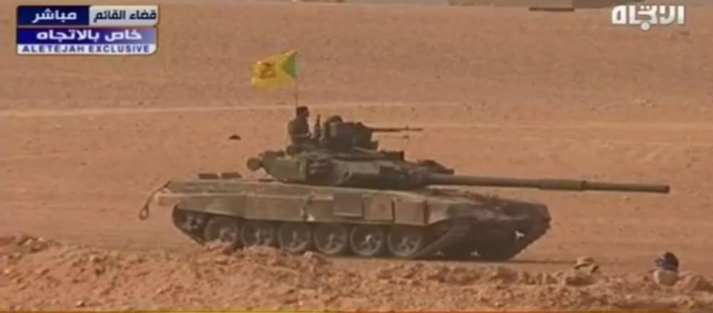"""Танк Т-90 под флагом иракской """"Катаиб Хезболла"""" в иракском Эль-Каиме"""