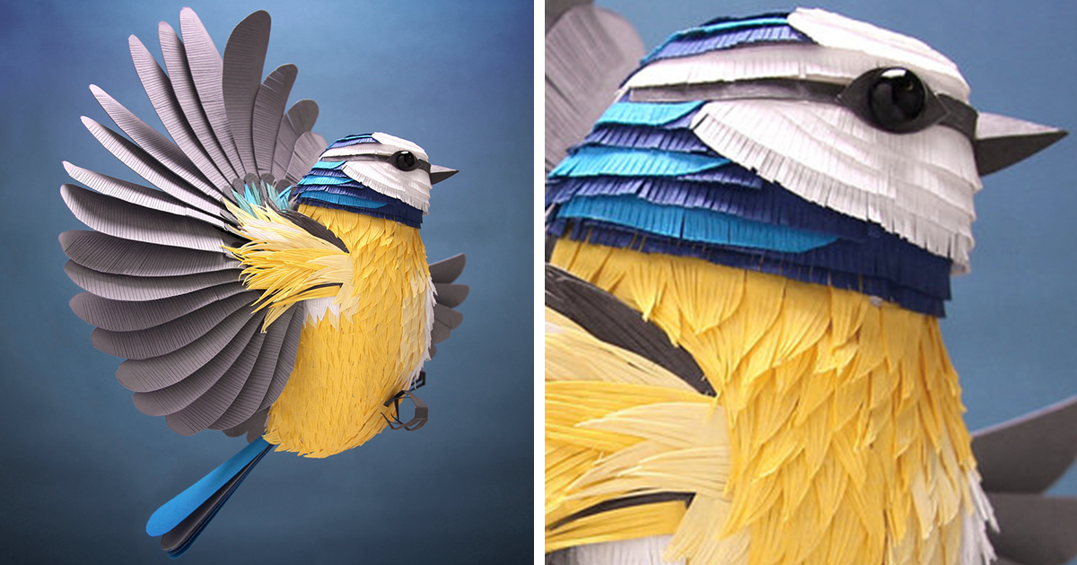I Hand-Cut Paper Into Hundreds Of Tiny Pieces To Create Sculptures Of Birds, Bees, And Other Creatures