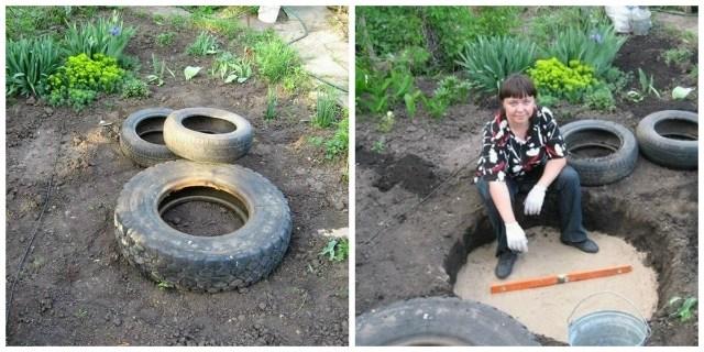 Женщина установила кучу старых шин в своем дворе. Но что она сделала с ними дальше?!