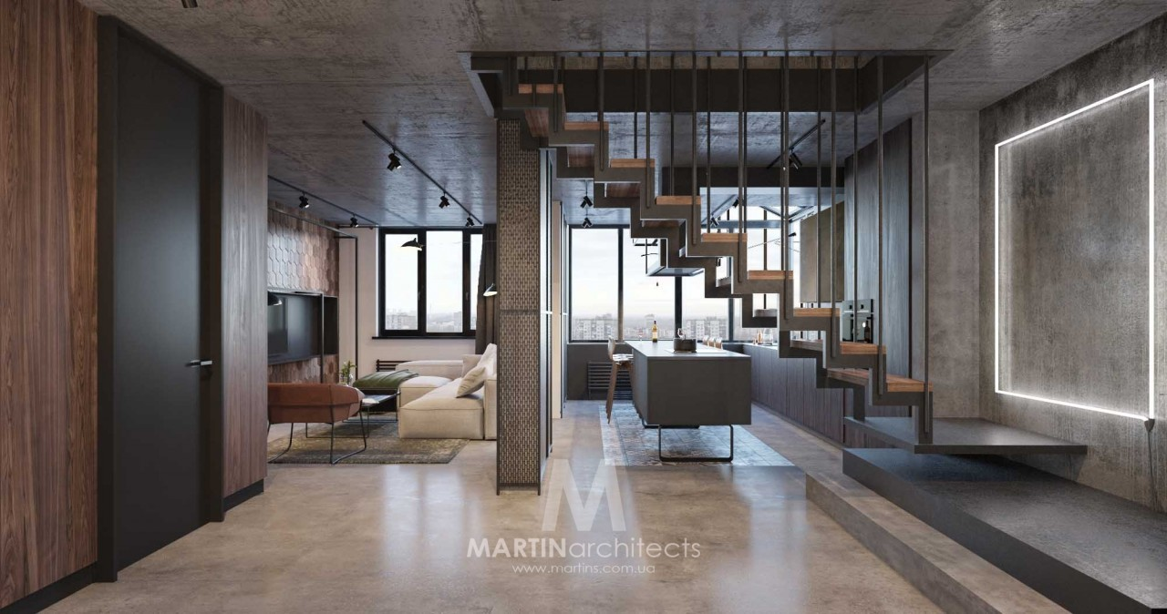 Бетон и уют: двухуровневая квартира
