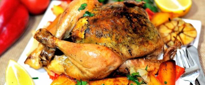 цыпленок табака в духовке с картофелем