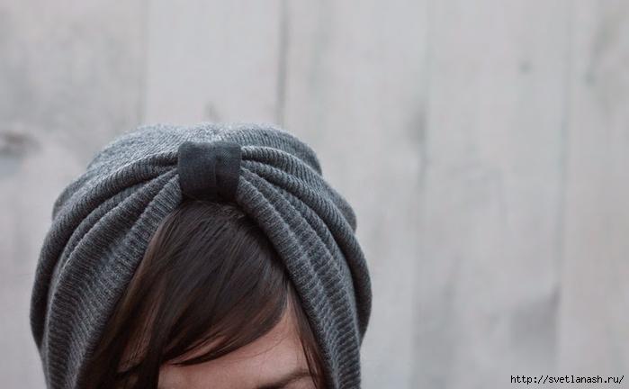 Оригинальная переделка: из спортивной шапочки в шапочку-тюрбан