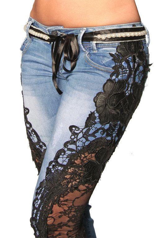268Как украсить джинсы кружевом
