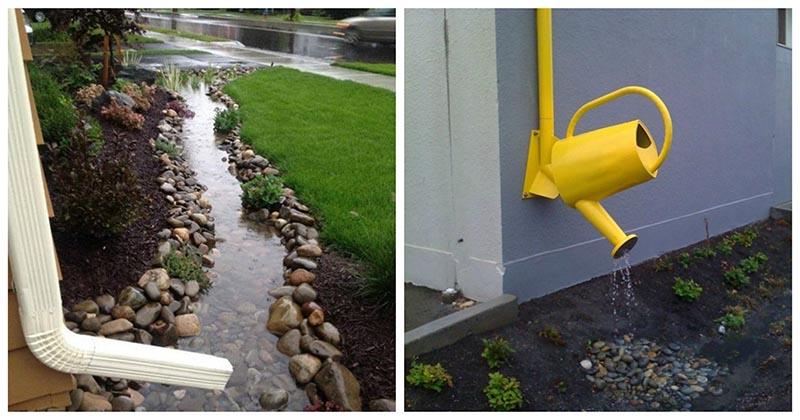 «Прячем» водосток на улице с помощью декора: 15 легко реализуемых идей