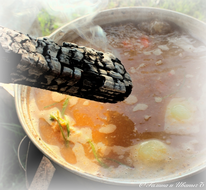 УХА из водки с головёшкой Еда, Уха, Уха на костре, Рыба, Тройная уха, Длиннопост