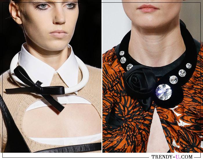 Модные украшения на одежде Prada и Miu Miu SS 2019