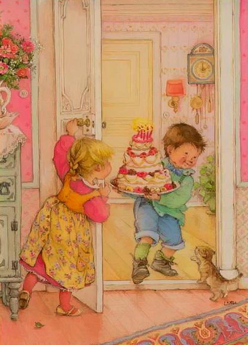 мальчик несет торт к комнату