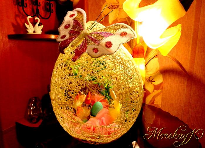 Большое яйцо для пасхального декора. (2 мастер-класса: из ниток и гипса)
