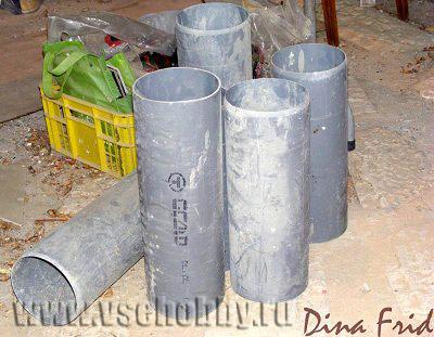 обрезки пластиковых труб - основа для мозаичных кашпо ручной работы