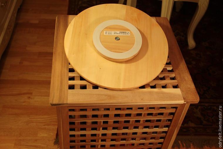 Мастерим поворотный стол для раскладки шерсти на шаблоне