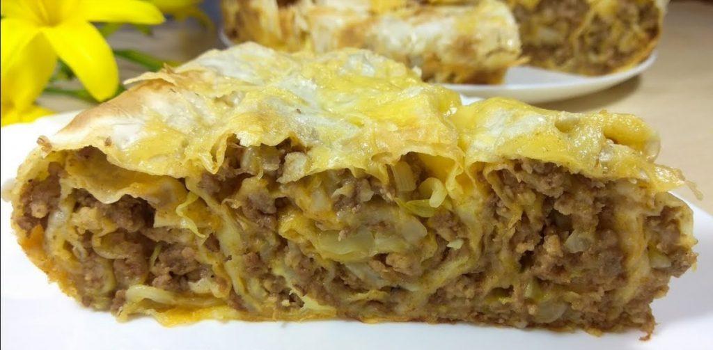 Готовим мясной пирог из лаваша с капустой. Безумно вкусно!