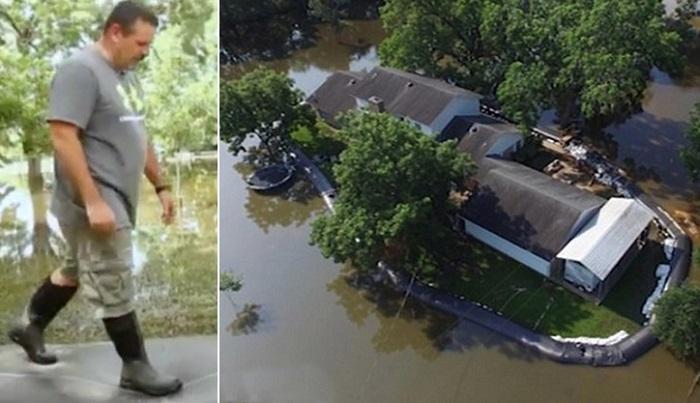 Мужчина защитил свой участок от наводнения необычным способом - окружил его трубой. Зря соседи смеялись!
