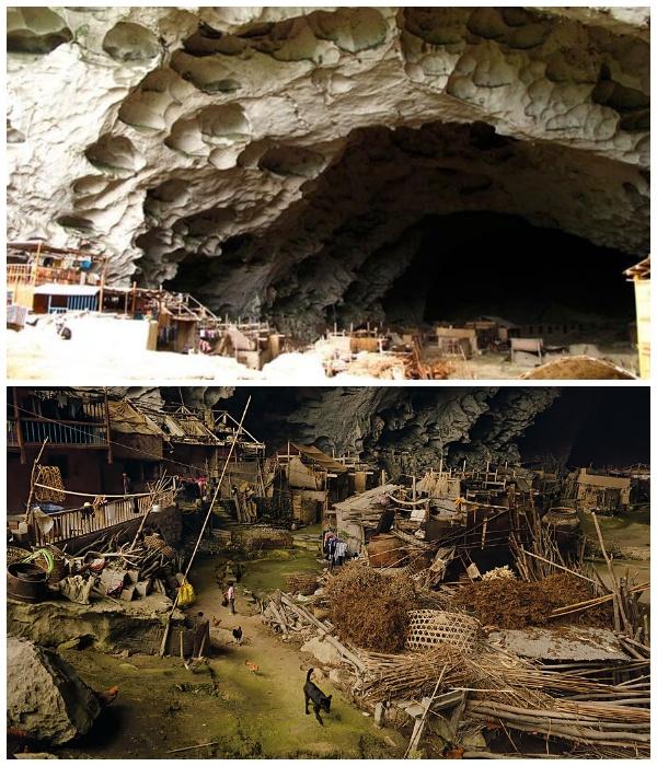 Под сводами огромной пещеры поместилось несколько улиц деревни (Чжундун, Китай).   Фото: youtube.com.