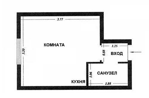 план комнаты гостинки 15 кв. м.