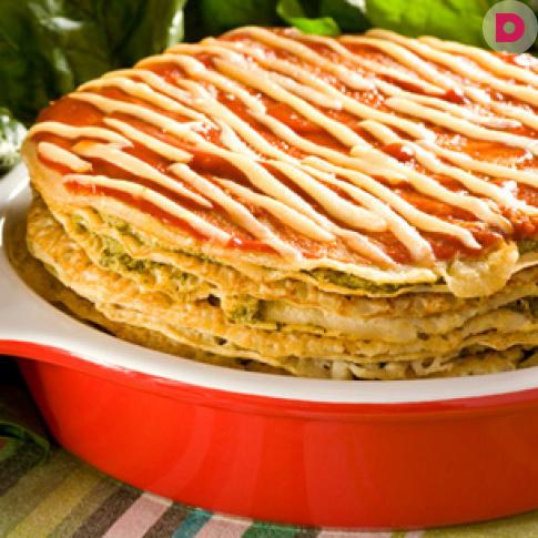 Блинчатый пирог с куриной печенью