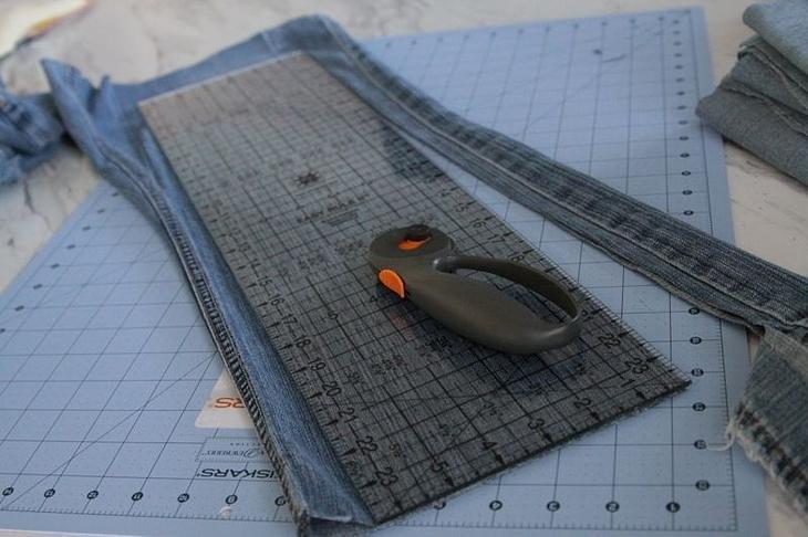Стёганое одеяло-плед из старых джинсов: мастер-класс