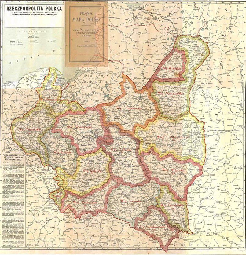 Вторая Речь Посполитая, карта с границами воеводств / Фото: polski.pro