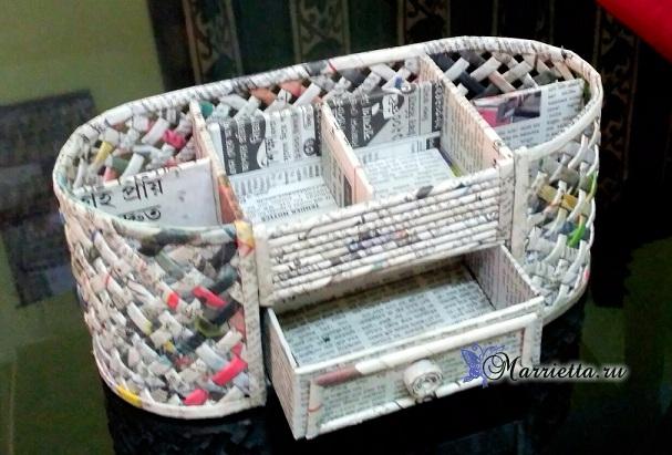 Плетение из газет шкатулки-органайзера. Мастер-класс