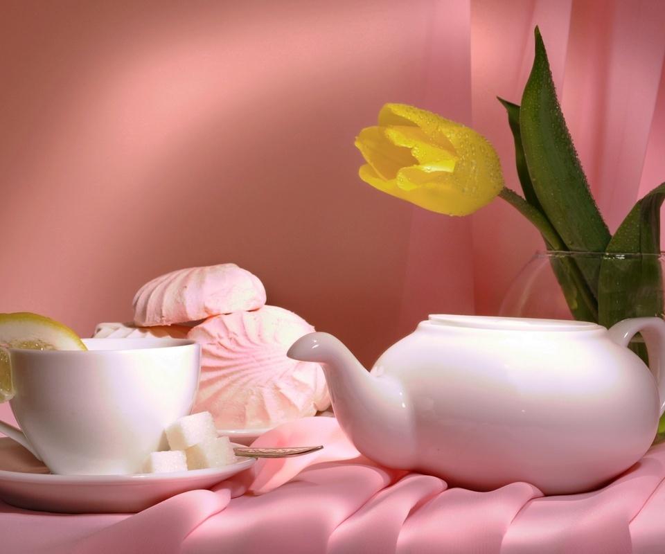 чай, тюльпаны, лепестки