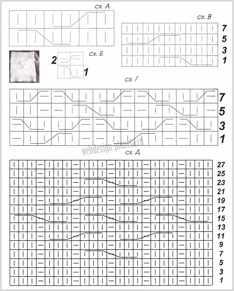 схемы вязания А-Д