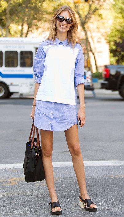 как носить модное платье рубашка фото