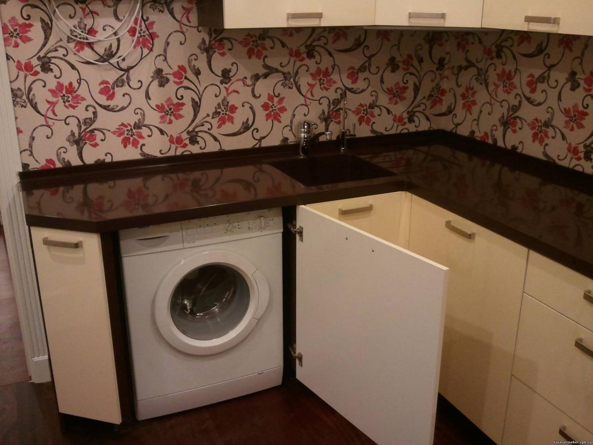 Стиральная машина в дизайне кухни