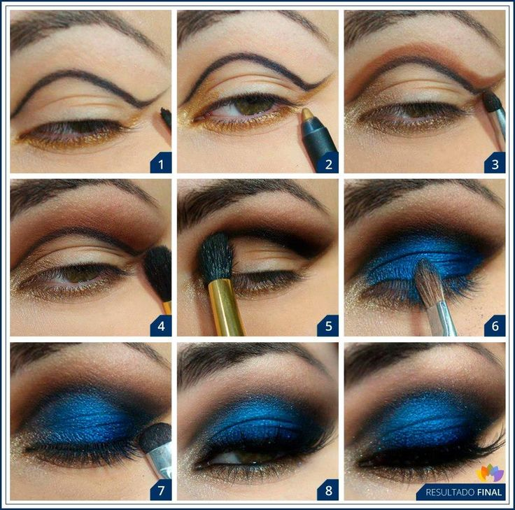 Синий макияж пошаговое фото