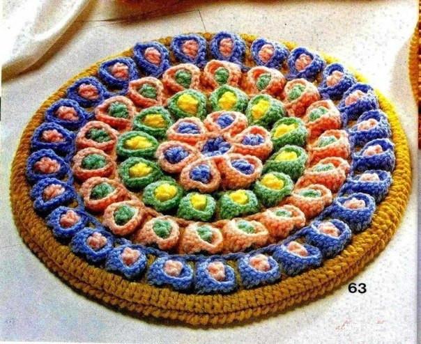 Японский коврик вязаный крючком
