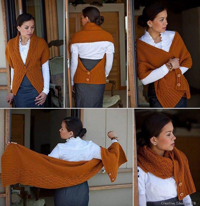 Оригинальный шарф-трансформер спицами