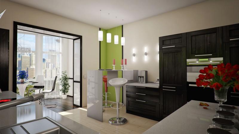 Балкон совместно с кухней фото.