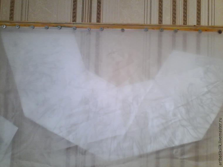 Декор абажура тонким шелком