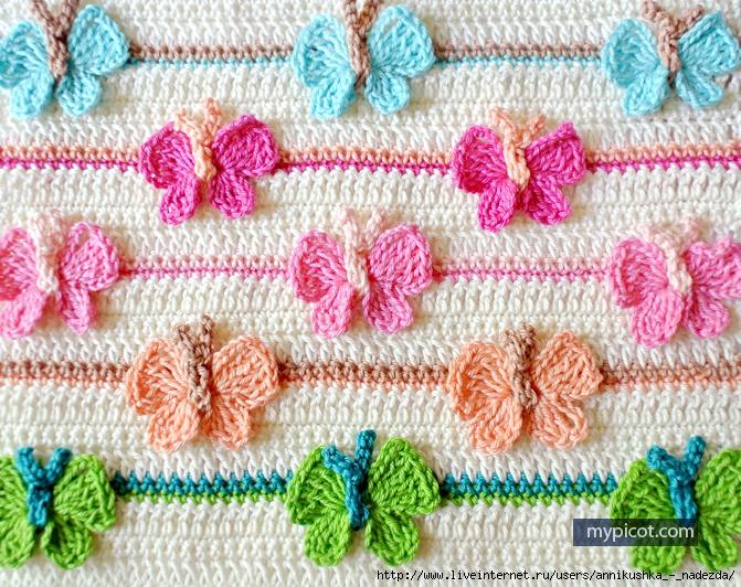 Оригинальный узор Бабочки. Безотрывное вязание