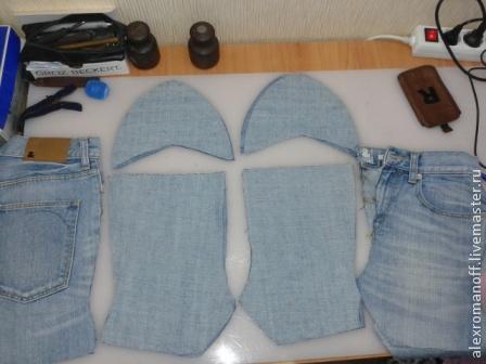 Как сделать обувь из джинсов