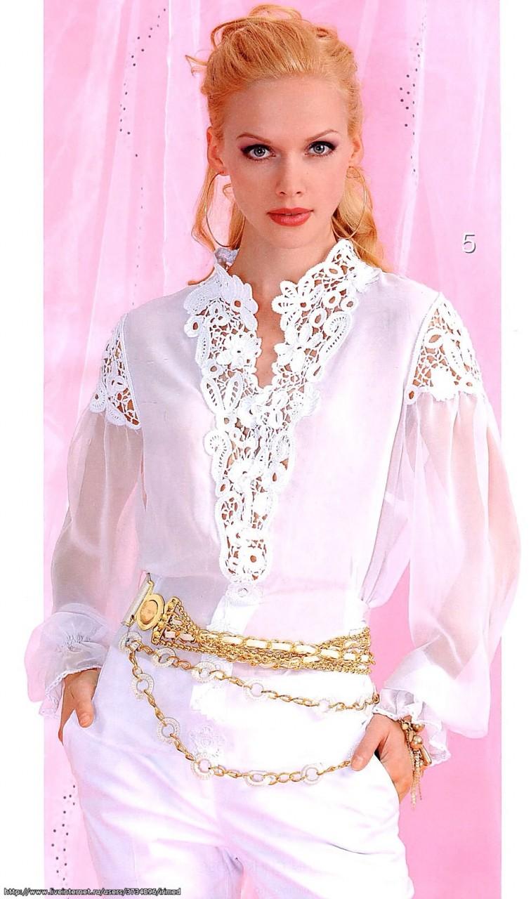 Шикарная блуза с кружевными вставками. Идея переделки. Схемы