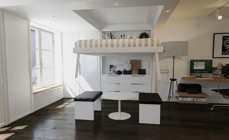 Кровать под потолком: решение для Smart квартир