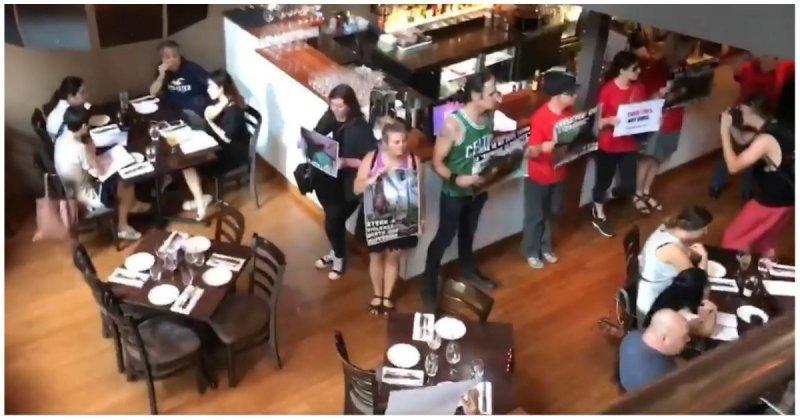 Веганы пришли в мясной ресторан и испортили настроение любителям стейков vegan, австралия, акция, веганы, видео, протест, ресторан, стейк