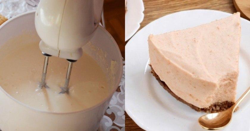 Диетический яблочный десерт в виде мусса на бисквите