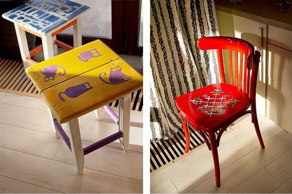 Старые стулья и табуреты могут превратиться в очень яркие и стильные элементы декора мебель, новая жизнь, переделка, старье