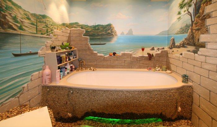 Панорама в ванной комнате. Роспись стен