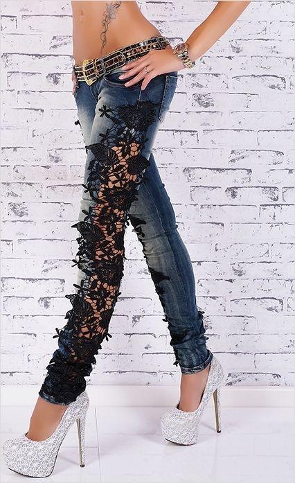 454Как украсить джинсы кружевом