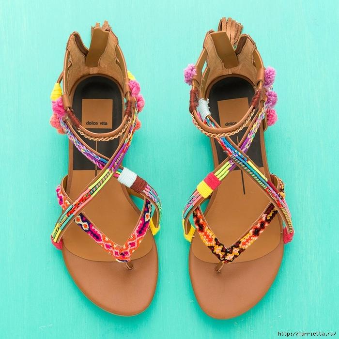 Обувь в стиле бохо. Переделка босоножек своими руками (7) (700x700, 361Kb)