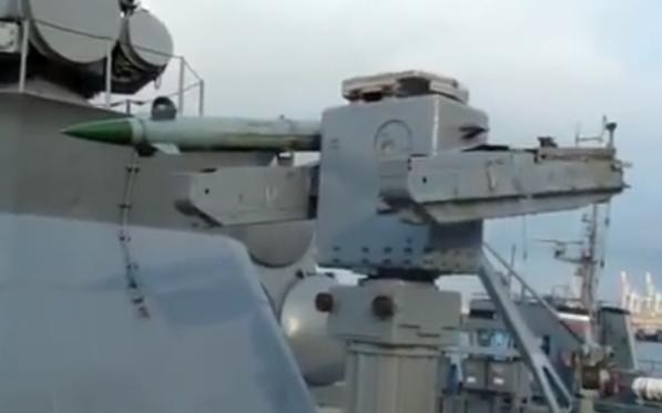 """Ракетный комплекс 9М33 «Оса-М» на МРК """"Мираж"""" с одной потраченной ракетой."""