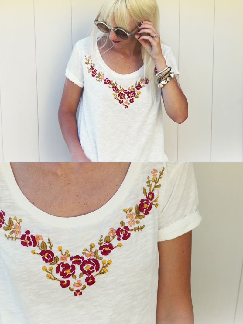 Embroiderd Top DIY Project on A Beautiful Mess